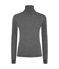 Harrods Of London Cashmere Roll Neck Jumper Dark Grey