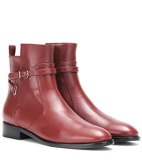 Balenciaga Papier Leather Ankle Boots Red