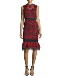 Catherine Deane Sleeveless Lace Flounce Dress Port Red Black