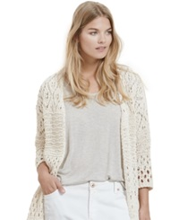 Violeta By Mango Plus Size Fringe Open Knit Cardigan
