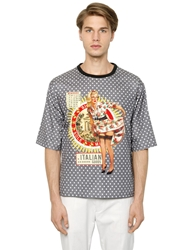 Dolce And Gabbana Maggio Pin Up Print Cotton Gauze T Shirt Multi