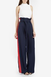A.W.A.K.E. Wide Leg Side Stripe Pant Navy