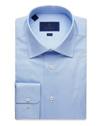 David Donahue Trim Fit Geometric Pattern Dress Shirt Blue