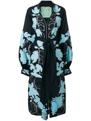 Yuliya Magdych Gooseberry Embroidered Dress Linen Flax M Blue