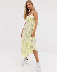 Stradivarius Floral Midi Cami Dress With Laceback In Yellow Yellow