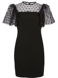 Saint Laurent Polka Dot Mesh Panel Dress Black