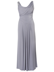Chesca Cowl And Drape Detail Evening Dress Silver Grey