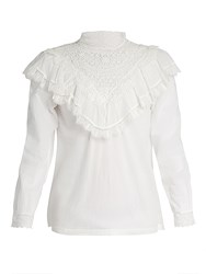 Masscob Marais Lace Trimmed Cotton Top White