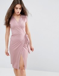 Asos Pencil Dress With Wrap Front And Short Sleeve Mink Brown