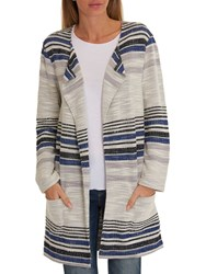 Betty Barclay Striped Cardigan White Classic Blue