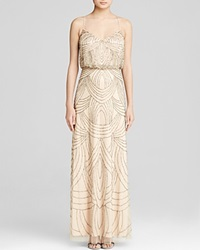Adrianna Papell Gown Sleeveless Deco Beaded Blouson
