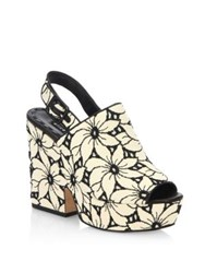 Alice Olivia Charlize Floral Lacquered Cork Heel Suede Sandals Black White