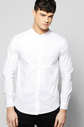 Boohoo Collar Shirt With Curve Hem And Zip Detail White