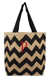 Cathy's Concepts Personalized Chevron Print Jute Tote Grey Black Natural P