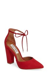 Steve Madden Women's 'Pamperd' Lace Up Pump Red Nubuck Leather