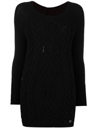Twin Set Distressed Cable Knit Loose Fit Jumper Black