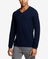 Dkny Textured Knit V Neck Sweater Medieval Blue