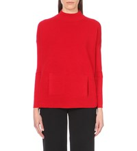 Karen Millen Ribbed Wool Blend Turtleneck Jumper Red