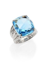John Hardy Bamboo Sky Blue Topaz And Sterling Silver Octagon Five Row Ring