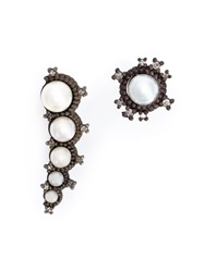 Nancy Newberg Oxidised Silver Asymmetrical Pearl Earrings Metallic