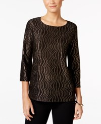 Jm Collection Wave Print Jacquard Top Only At Macy's Black Novelty Wave