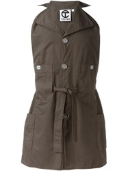 Telfar Sleeveless Belted Jacket Brown