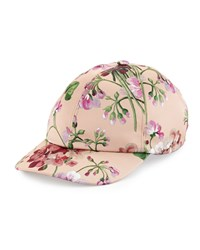 Gucci Floral Satin Baseball Cap Size Medium Pink Apricot Emerald