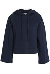 Sea Striped Broderie Anglaise Paneled French Cotton Terry Sweatshirt Navy