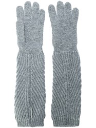 Moncler Ribbed Long Gloves Grey