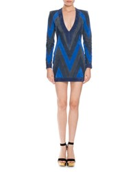 Balmain Patchwork Suede Mini Dress Blue