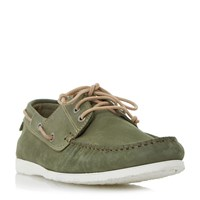 Dune Belize Lace Up Boat Shoe Khaki
