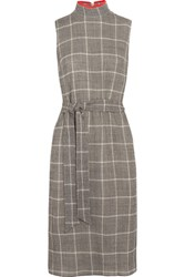 Cefinn Belted Prince Of Wales Checked Wool Blend Dress Gray