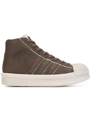 Rick Owens X Adidas Hi Top Sneakers Brown