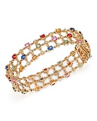 Bloomingdale's Multi Sapphire And Diamond Bracelet In 14K Yellow Gold