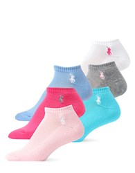 Ralph Lauren 6 Pack Cushion Sole Mesh Top Polo Sport Socks Pastels