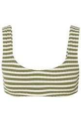 Solid And Striped The Elle Ribbed Stretch Bikini Top Green