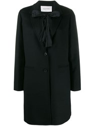 Valentino Bow Tie Embellished Coat Black