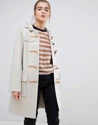 Gloverall Original Long Duffle Coat In Wool Blend Arctic White