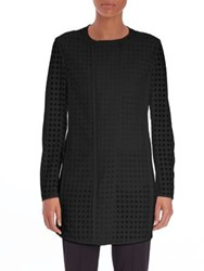 Akris Punto Lace Dot Long Roundneck Jacket Black