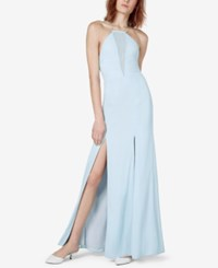 Fame And Partners Bluebell Lace Up Back Slit Gown Pale Blue