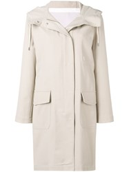 Closed Hooded Parka Coat Neutrals