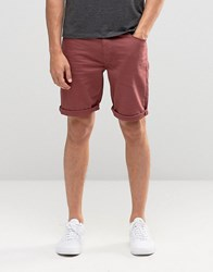 Asos Denim Shorts In Skinny Burgundy Oxblood Red Blue