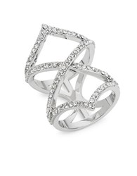 Michela Rhinestones Open Cocktail Ring Silver