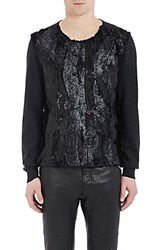 Maison Margiela Men's Waxed Moire Faux Fur Sweater Black Dark Grey No Color
