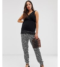 New Look Maternity Printed Jogger In Black Pattern