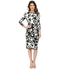 Maggy London Flat Flower Stripe Printed Jersey Midi Dress Soft White Black Women's Dress