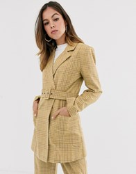 Moon River Check Blazer Yellow