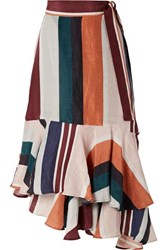 Apiece Apart Rosita Striped Linen And Silk Blend Wrap Skirt Orange