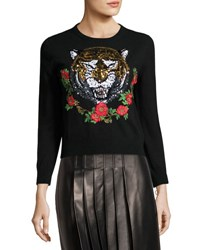 Gucci Tiger Embroidered Cashmere Sweater Black