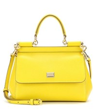Dolce And Gabbana Miss Sicily Small Leather Shoulder Bag Yellow